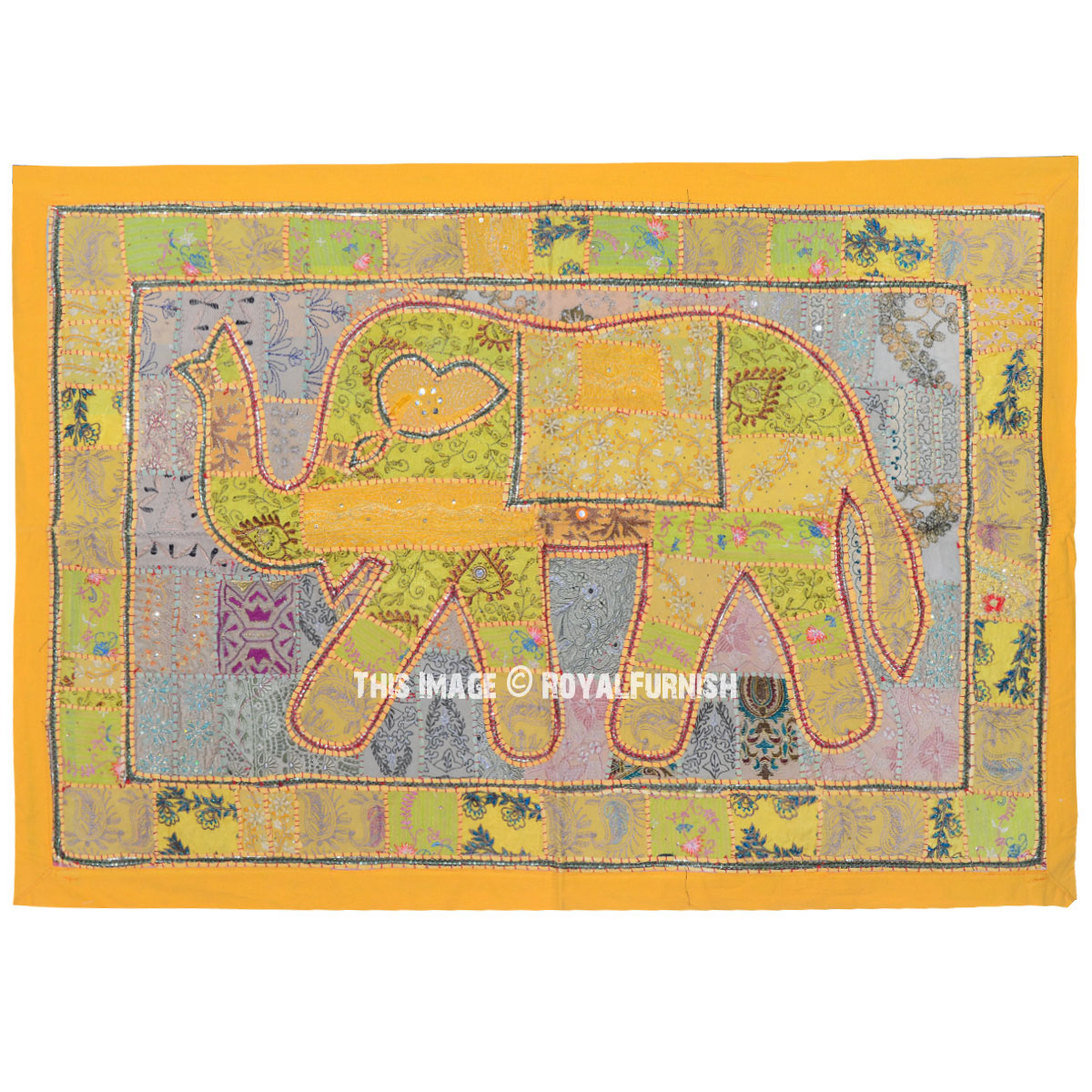 Yellow Multi Hand Embroidered Sequin Elephant Tapestry Wall Hanging ...