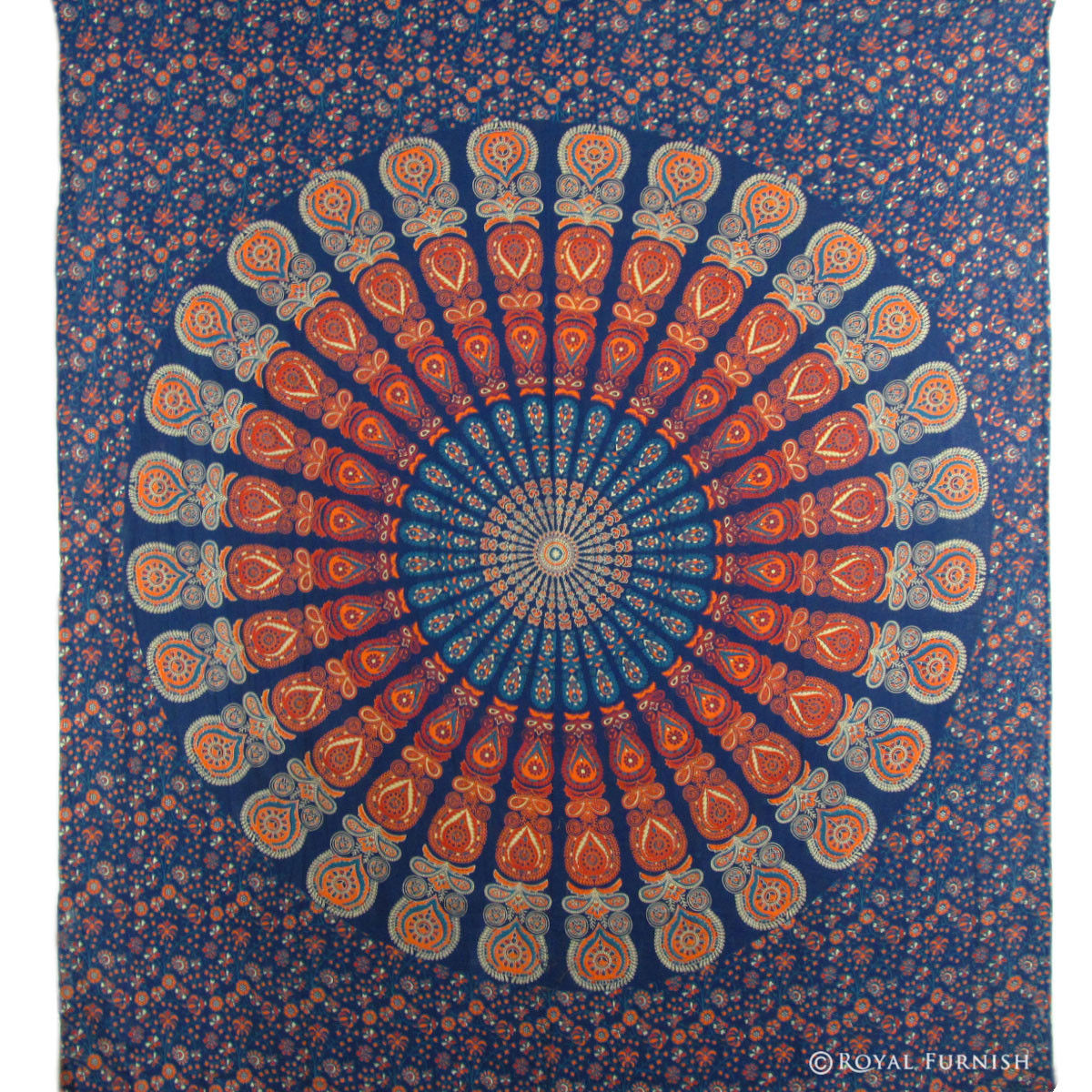 Home Decor Wall Tapestry : Blue indian floral mandala dorm room decor hippie tapestry