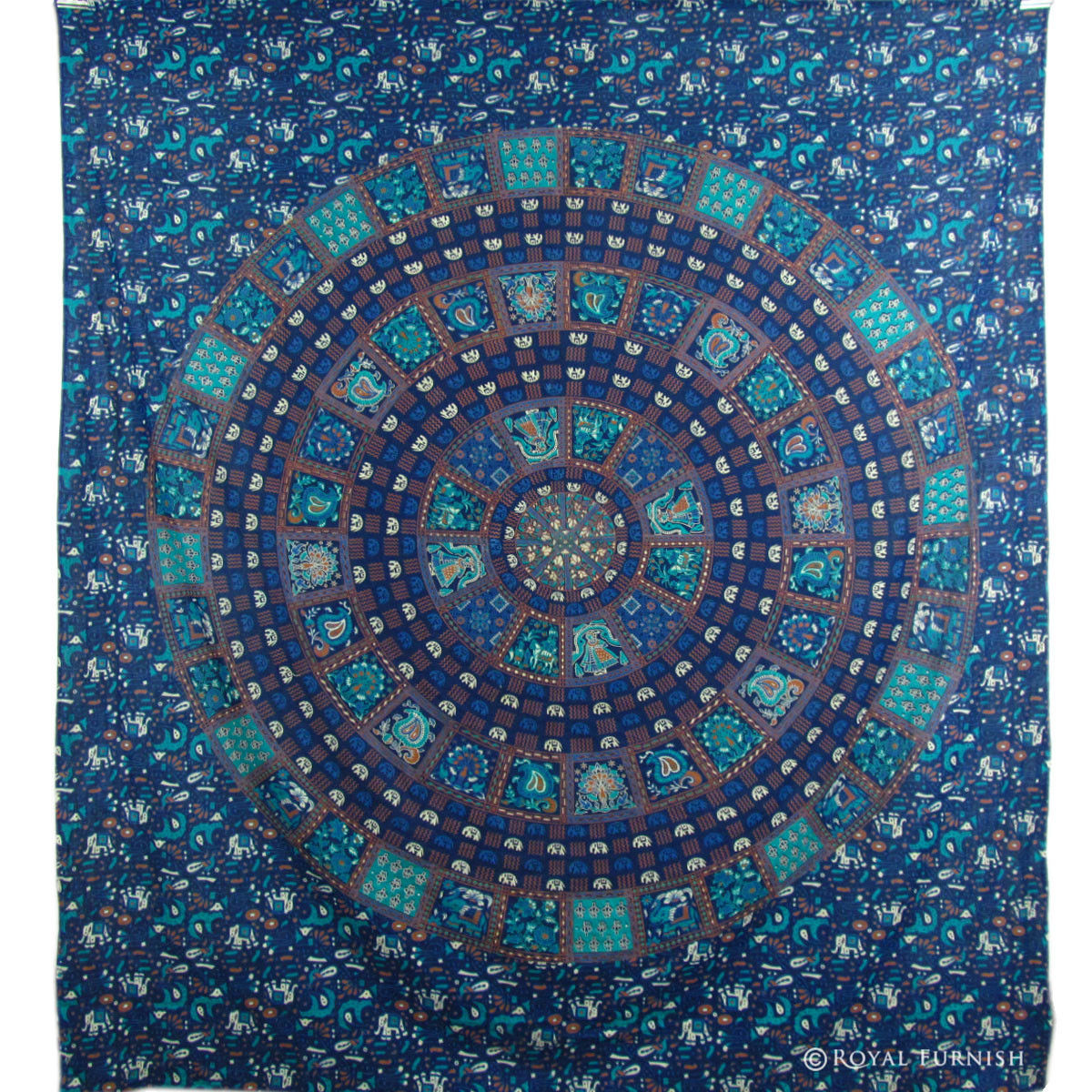 Blue Mandala Hippie Wall Hanging Indian Tapestry Throw
