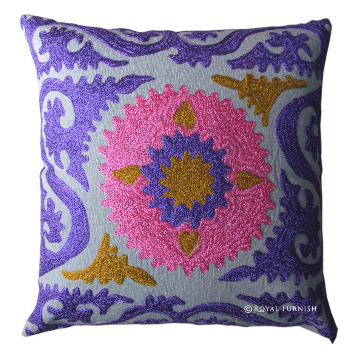 Indian Handmade Designer Cushion Cover Suzani Embroidered Handwork ...