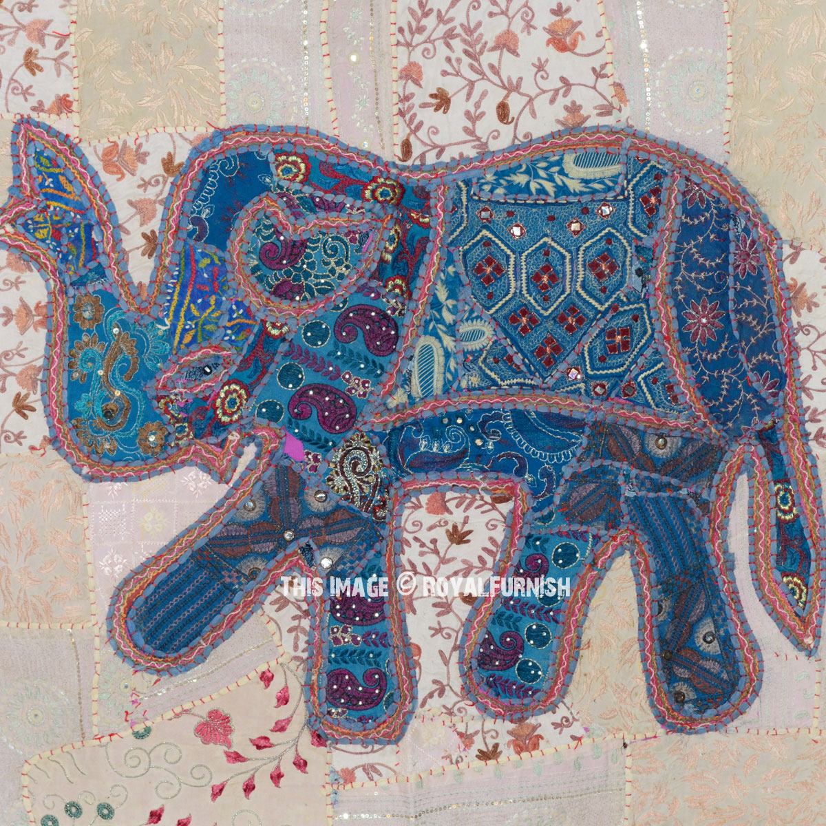 40 Quot Blue Indian Patchwork Elephant Tapestry Wall Hanging