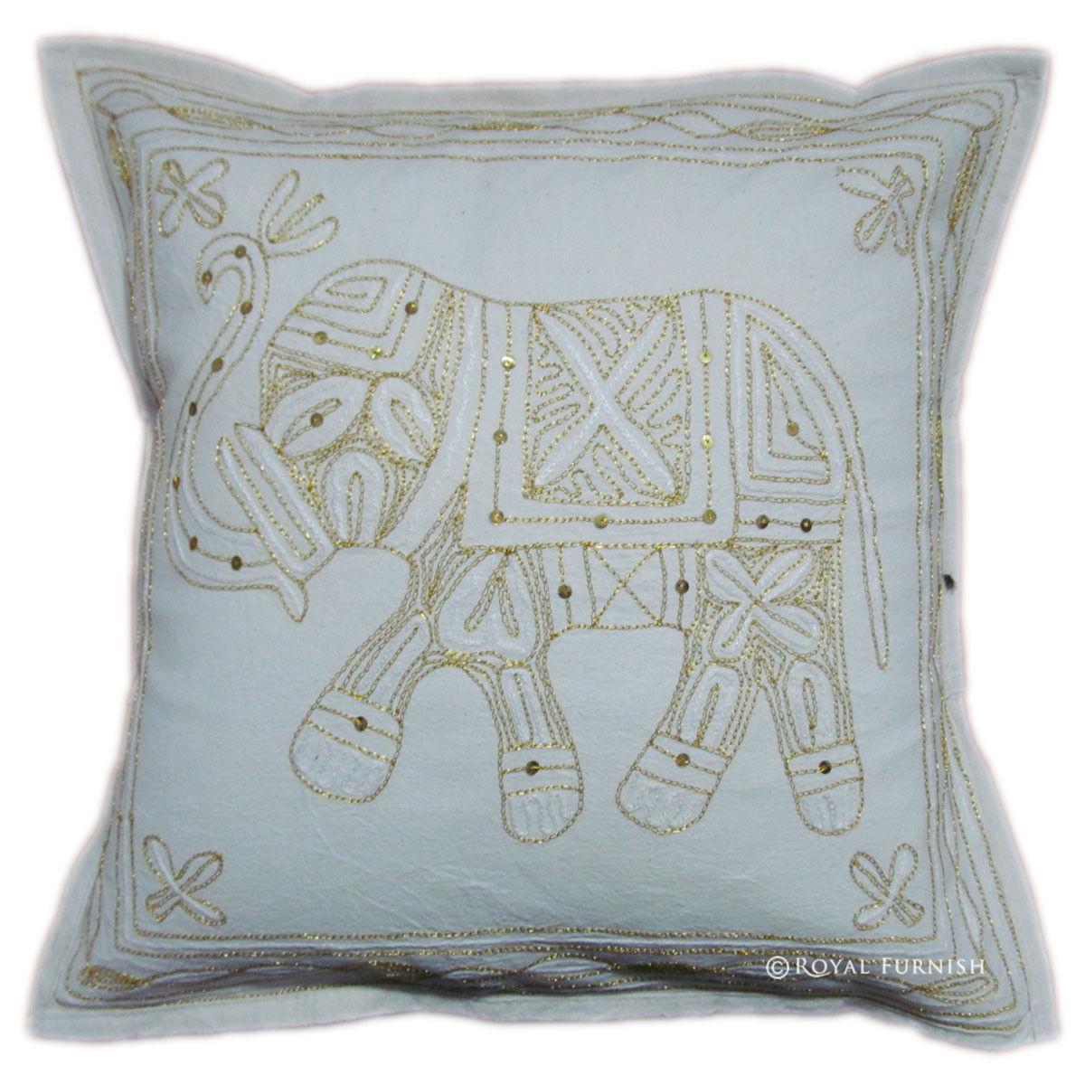 Embroidered Decorative Pillow : Handicraft Elephant Golden Thread Hand Embroidered Decorative Throw Pillow - RoyalFurnish.com