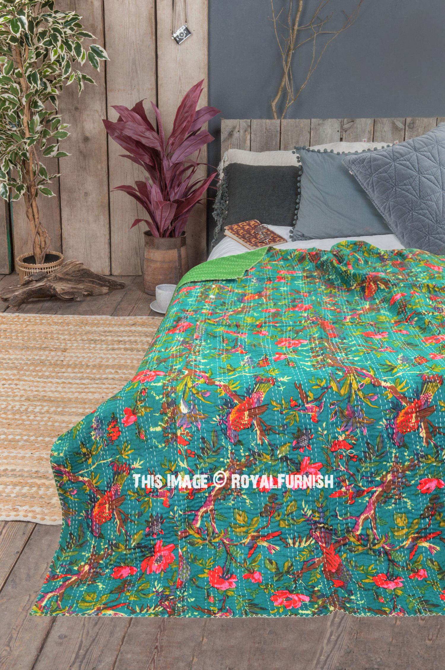 Green Bird Paradise Kantha Quilt Floral Bedspread Blanket Bed Cover