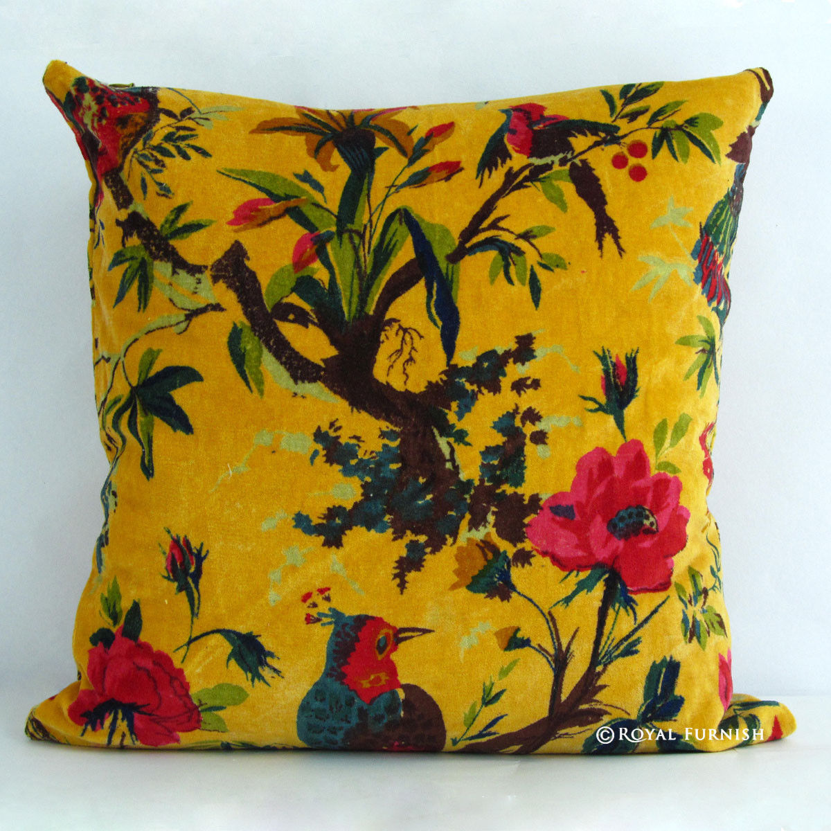 16x16 Orange Decorative Throw Accent Velvet Pillow Cover - RoyalFurnish.com