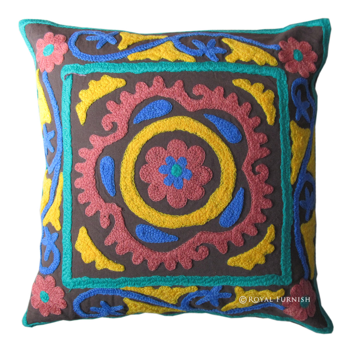 16x16 Decorative Suzani Embroidered Throw Accent Floral Pillow Cover - RoyalFurnish.com