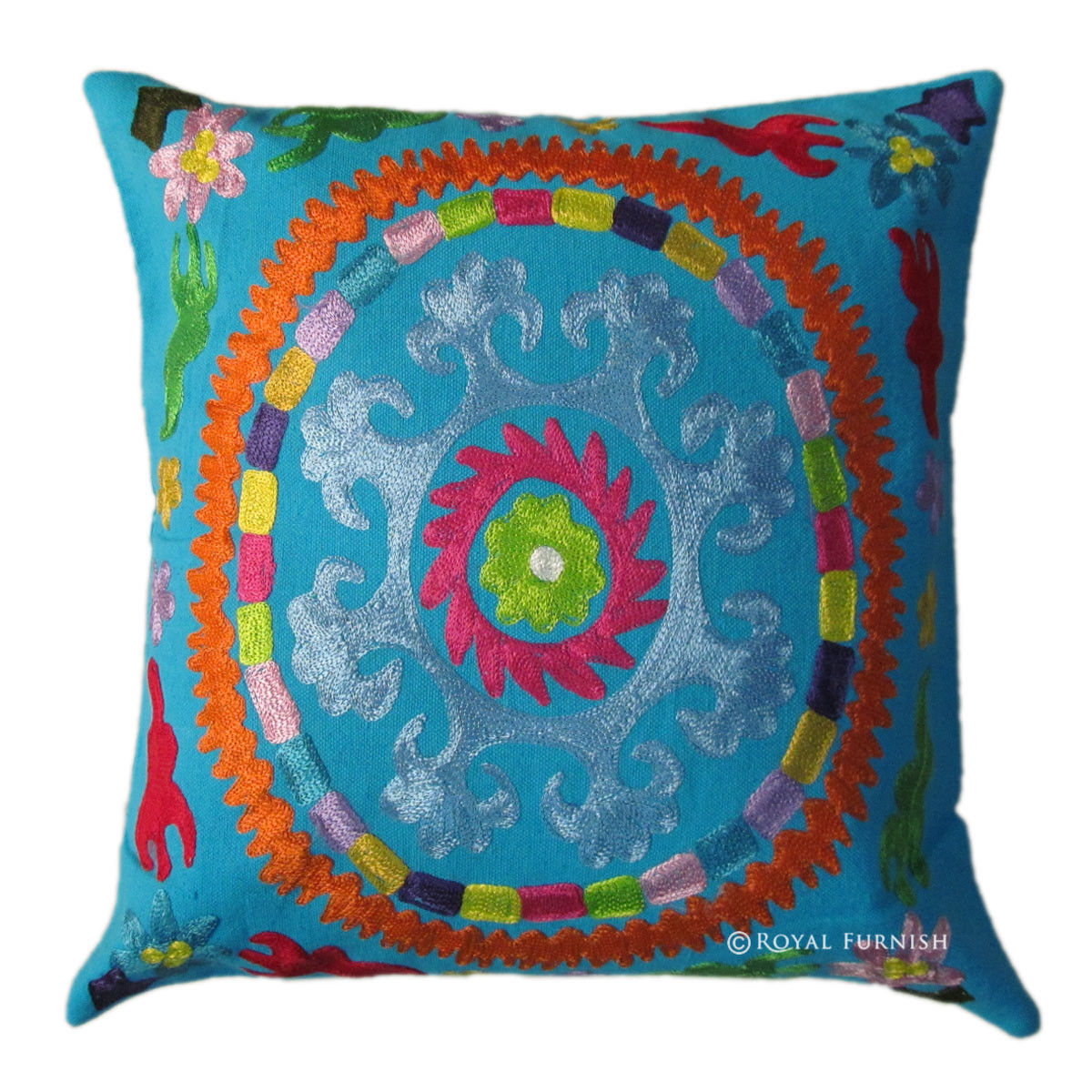 Embroidered Throw Pillow Covers : 16x16 Blue Indian Suzani Embroidered Decorative & Accent Toss Pillow Cover - RoyalFurnish.com