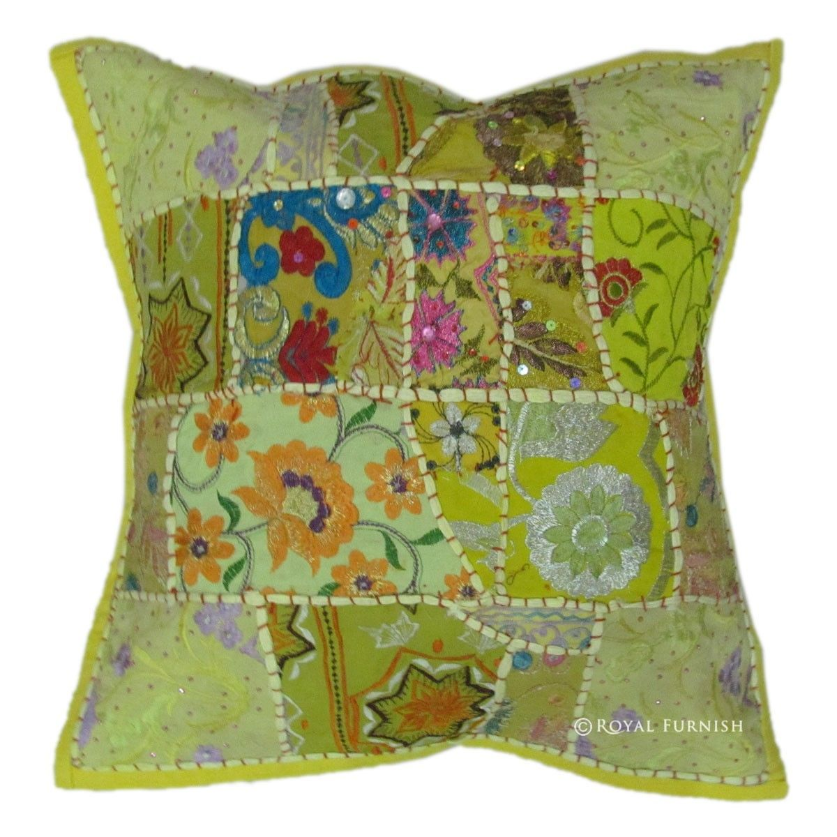 Yellow Embroidered Throw Pillows : 17x17 Yellow Indian Vintage Decorative Patchwork Embroidered Throw Pillow - RoyalFurnish.com