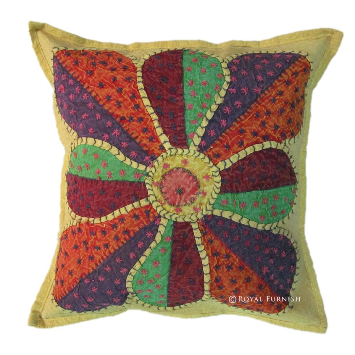 Handmade Decorative Throw Pillows : Indian Handmade Decorative Appliqued Accent Multi Patchwork Pillow - RoyalFurnish.com