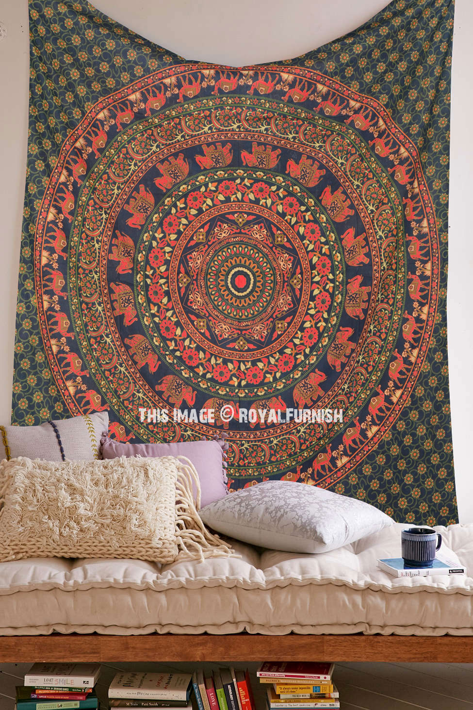 Queen Size Mandala Elephant Medallion Tapestry Wall