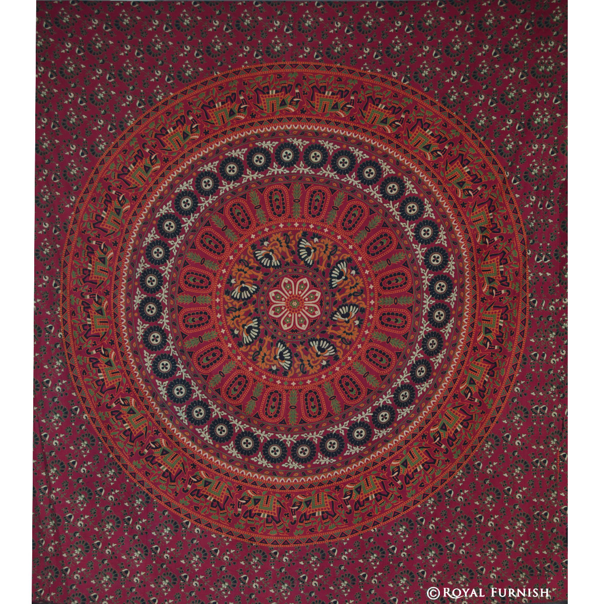Red Mandala Hippie College Medallion Indian Tapestry Wall Hanging Bedspread ...