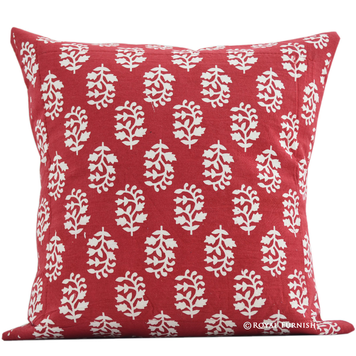 16 Quot Red India Floral Hand Block Print Cotton Throw Pillow
