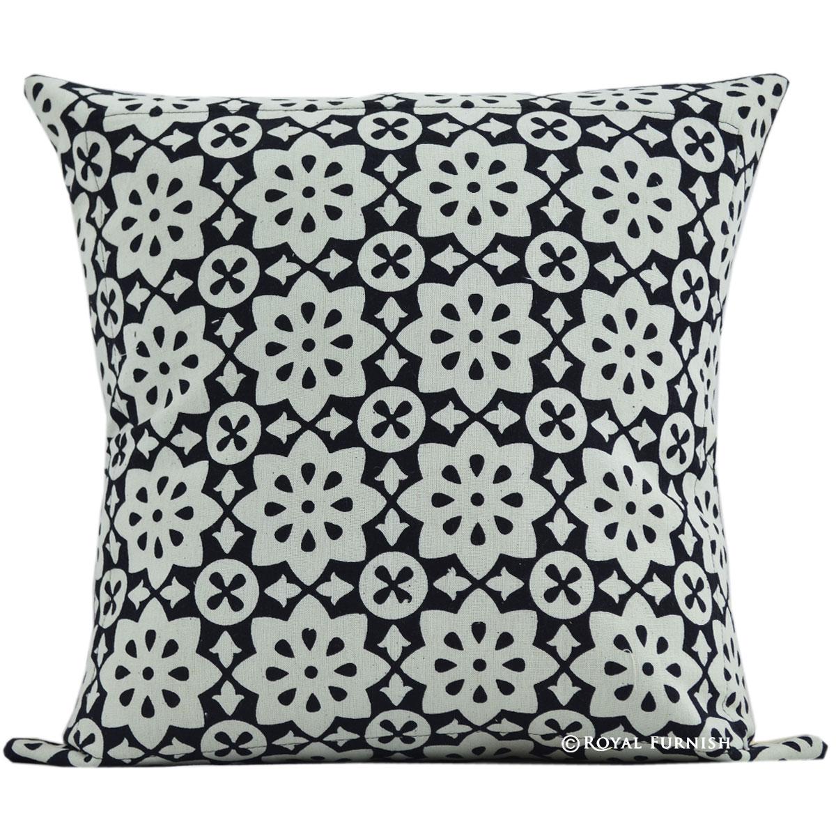 16 Quot Black Floral Hand Block Print Cotton Throw Pillow