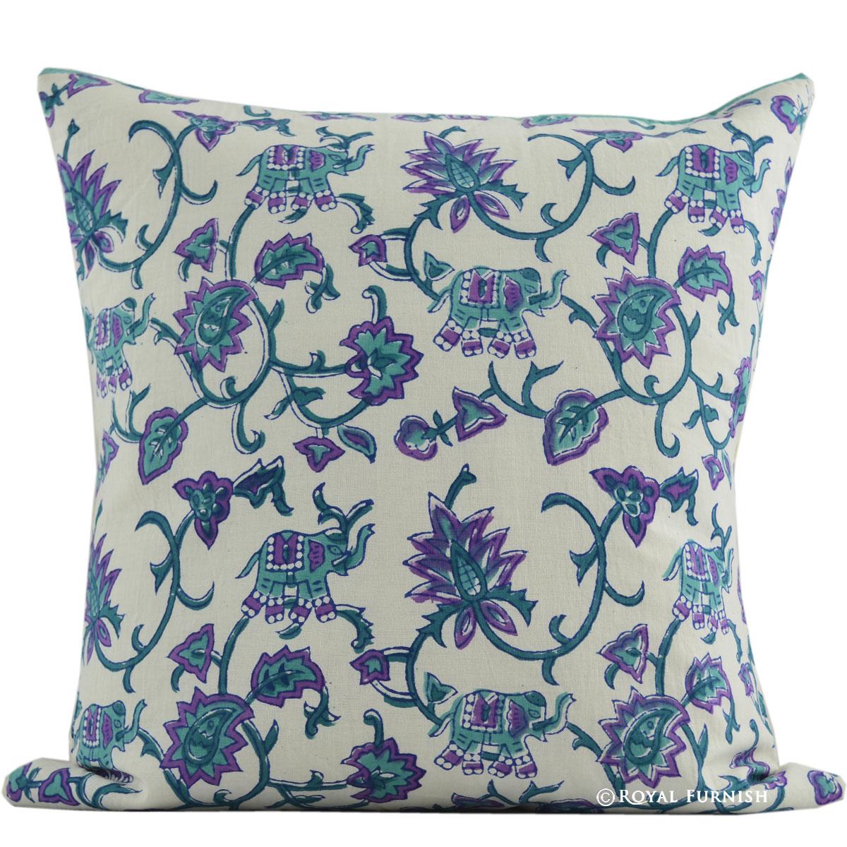 16 Quot White Elephant Amp Floral Hand Block Print Cotton Indian