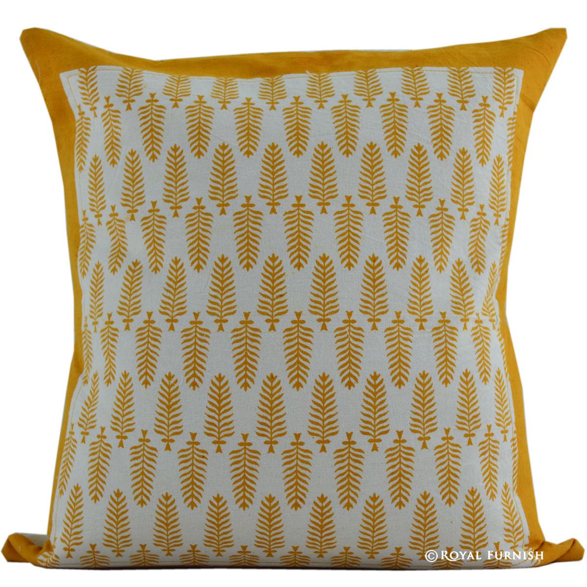16 Quot Orange Leaves Hand Block Print Cotton Indian Pillow