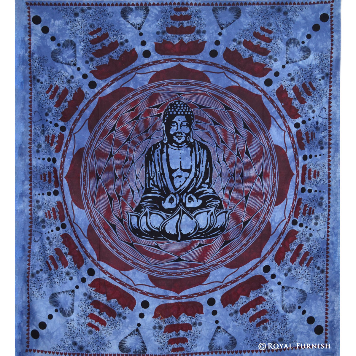 Decorative Wall Hanging Tapestry : Blue indian buddha tapestry wall hanging decorative art