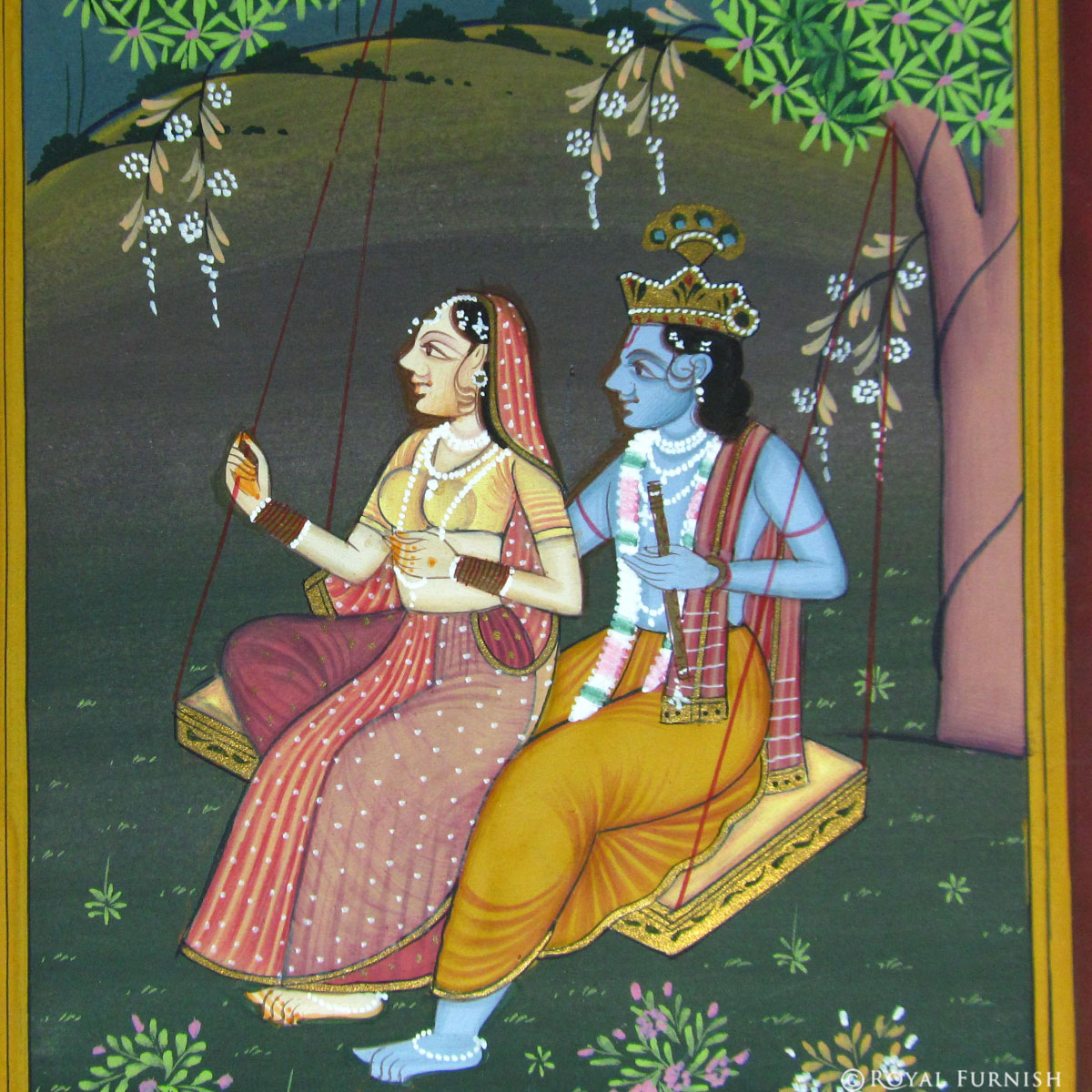Hindu Radha Krishna on Swing Rajasthani Miniature Wall Art Painting  sc 1 st  Royal Furnish : radha krishna wall art - www.pureclipart.com