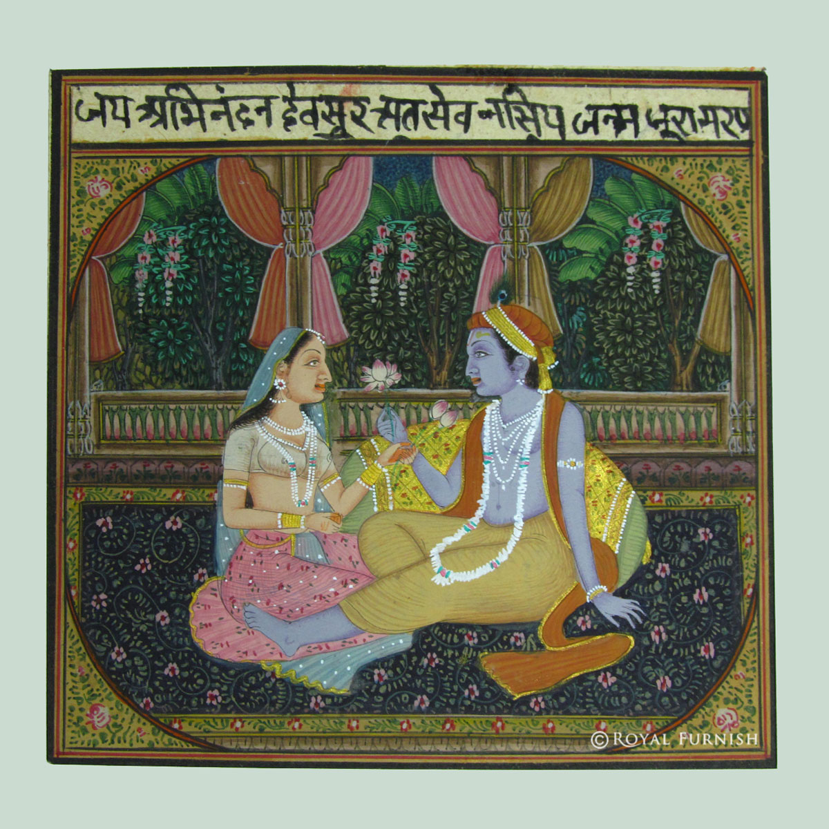 Radha Krishna Love Scene Rajasthani Miniature Wall Art Painting On Old Paper Part 69