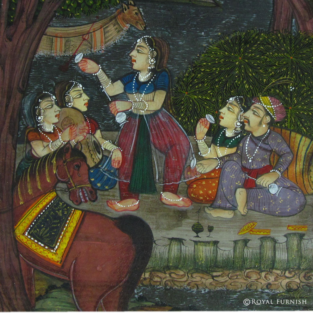 Mughal King Love Scene Rajasthani Miniature Painting Wall Art: home decor paintings for sale india