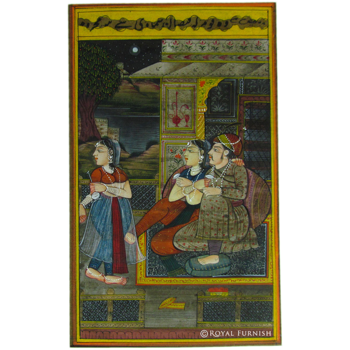 Mughal maharaja love life rajasthani miniature painting wall art Home decor paintings for sale india