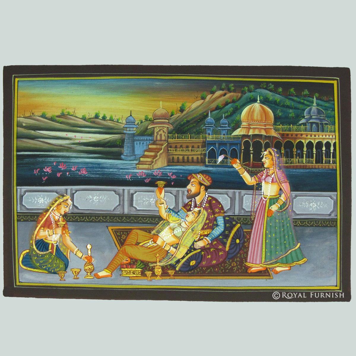 Mughal King Love Scene Rajasthani Miniature Painting On