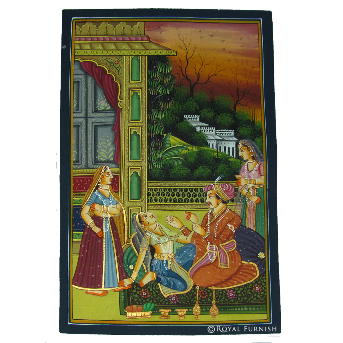 Mughal king love scene rajasthani miniature painting on silk fabric Home decor paintings for sale india