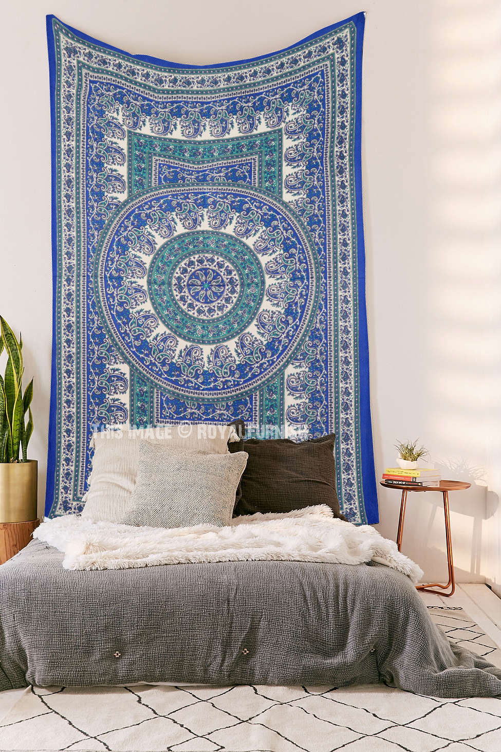 Twin Size Blue Indian Handloom Mandala Tapestry Wall