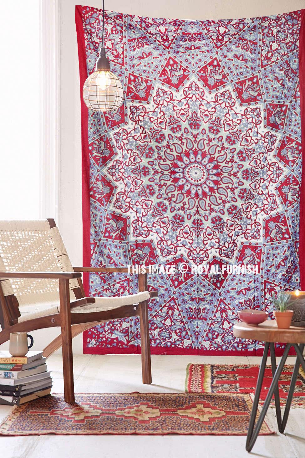 Blue multi elephants sun ombre mandala wall tapestry royalfurnish - Maroon Small Indian Dorm Decor Star Hippie Tapestry Wall Hanging Home Decor Art Royalfurnish Com