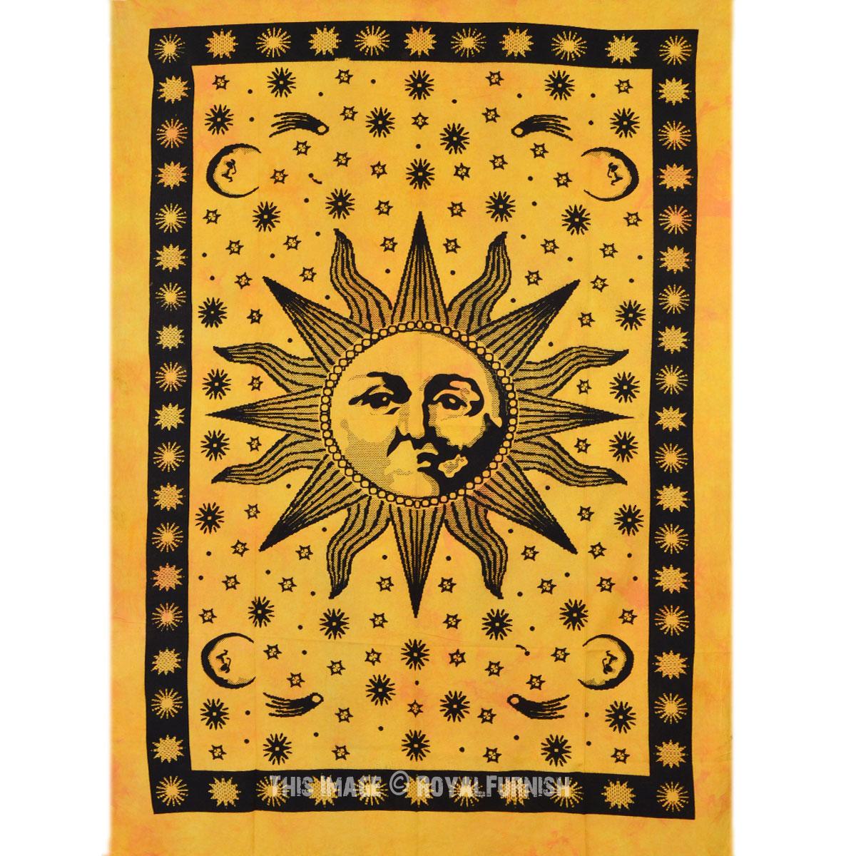 Yellow Twin Size Bright Sun Moon Dorm Room Hippie Tie Dye Indian ...
