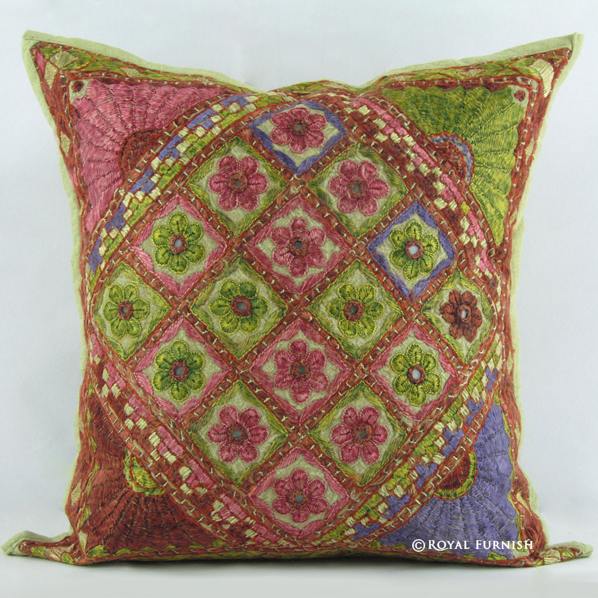 """Indian Vintage Throw Mirror work Embroidered Decor Pillow Cushion Cover Art 16/"""""""