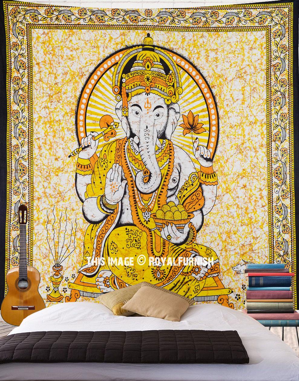 Yellow Hindu Elephant God Ganesha Batik Tapestry Wall Hanging ...