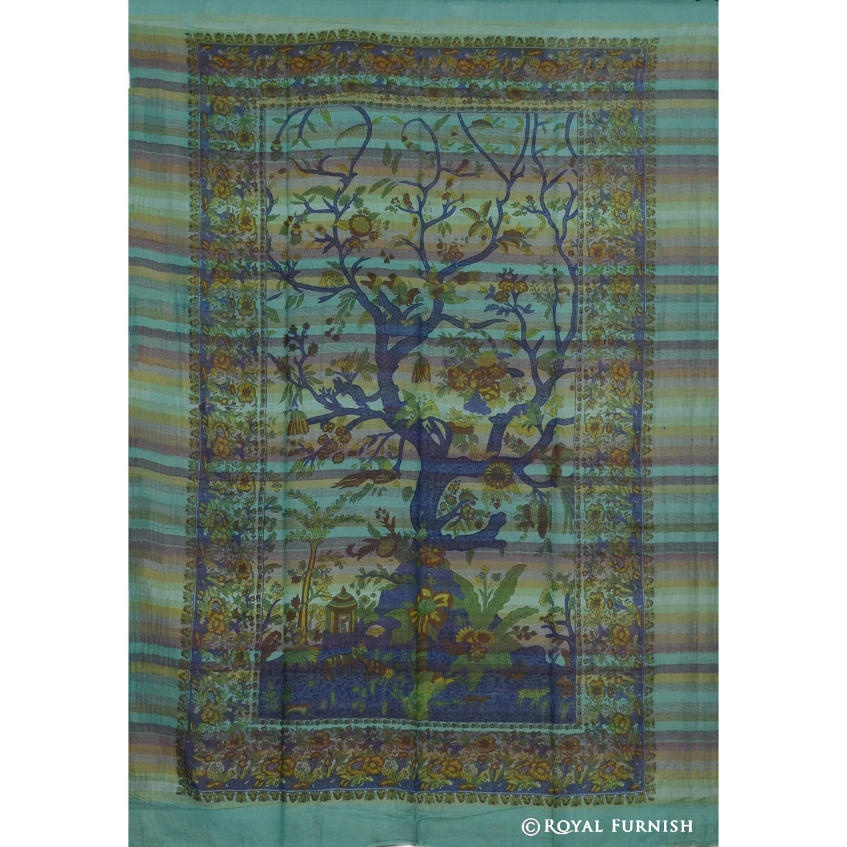 Green Tree Of Life Woven Hippie Tapestry Wall Hanging