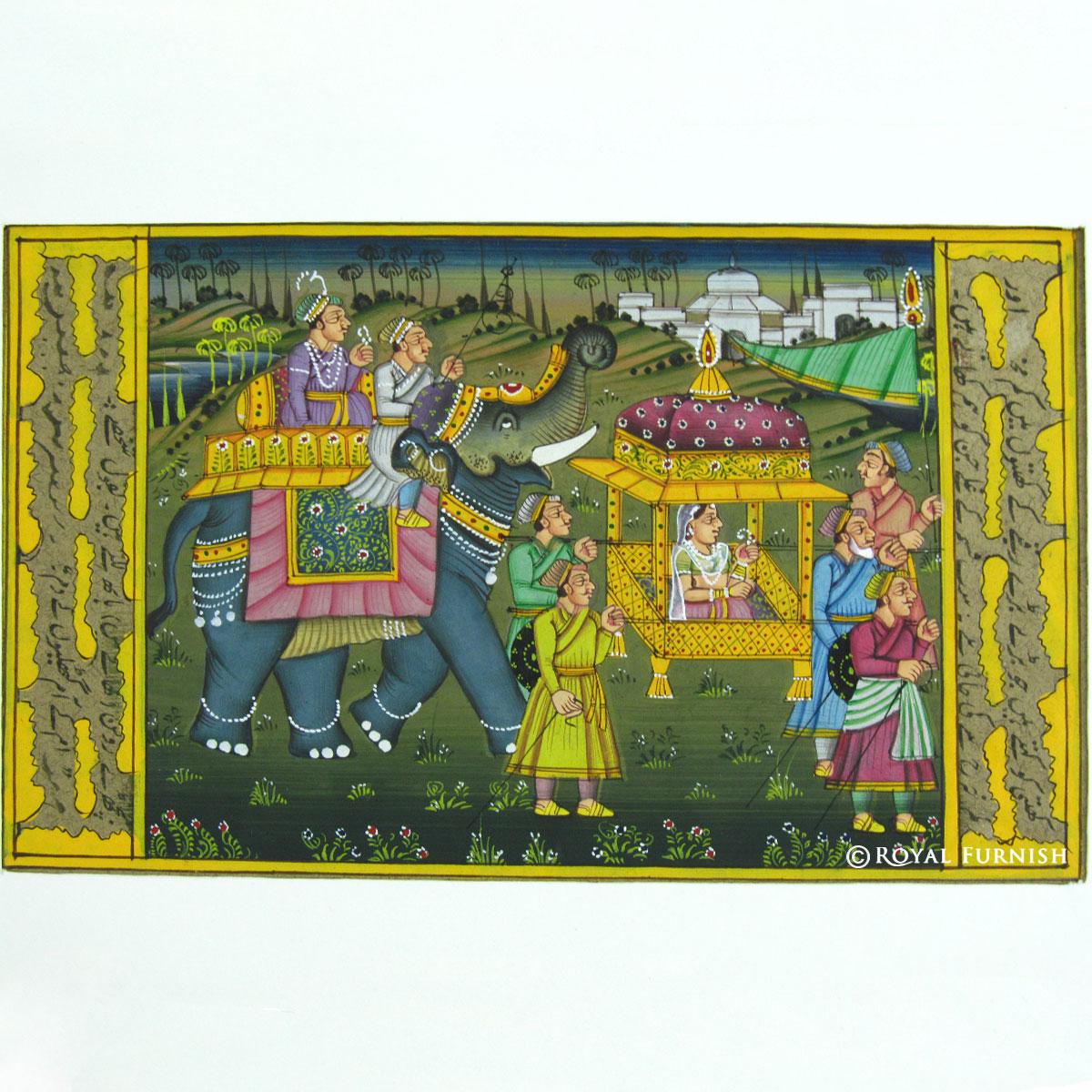 Rajasthani Traditional Mughal Procession Miniature