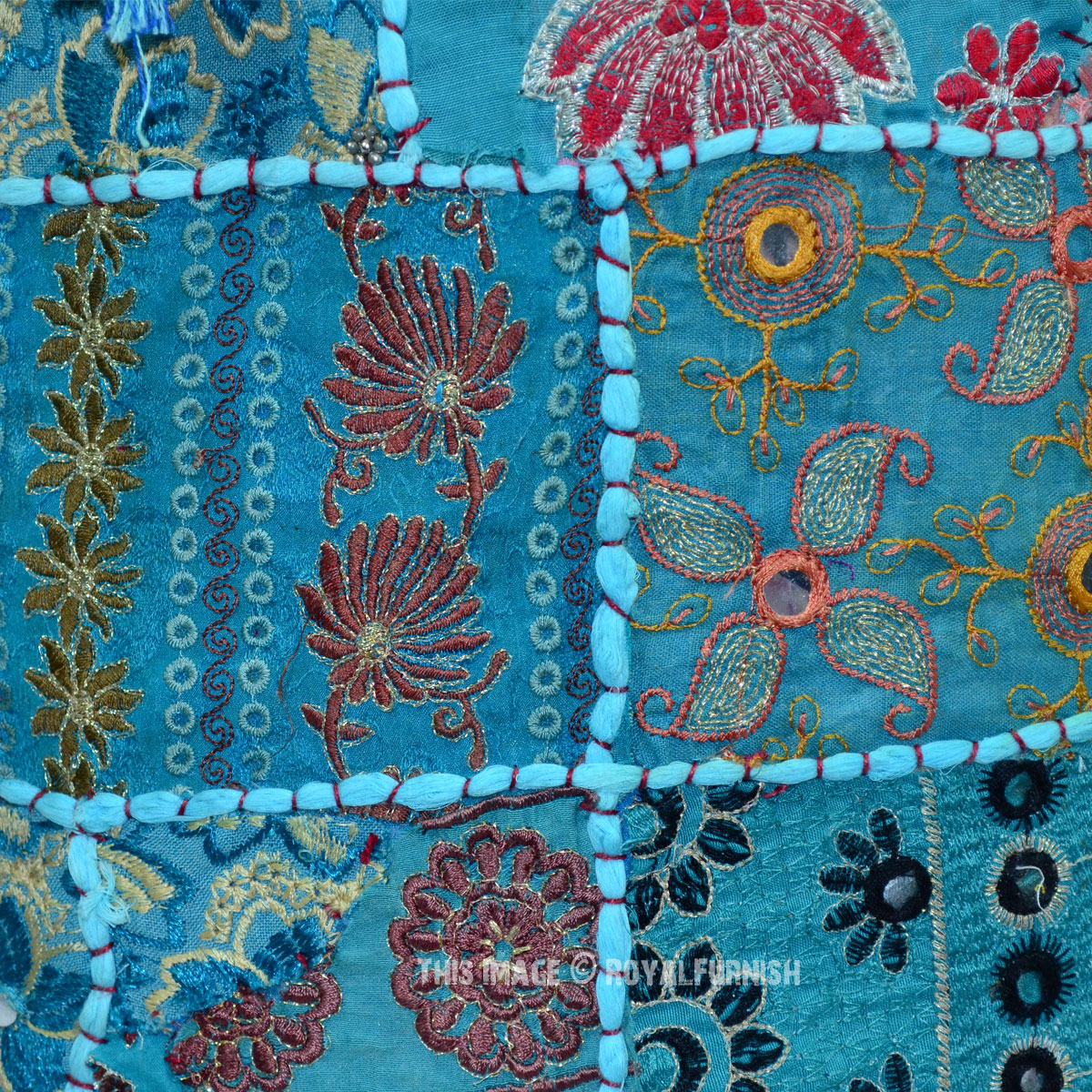 Turquoise Round Bohemian Patchwork Embroidered Indian