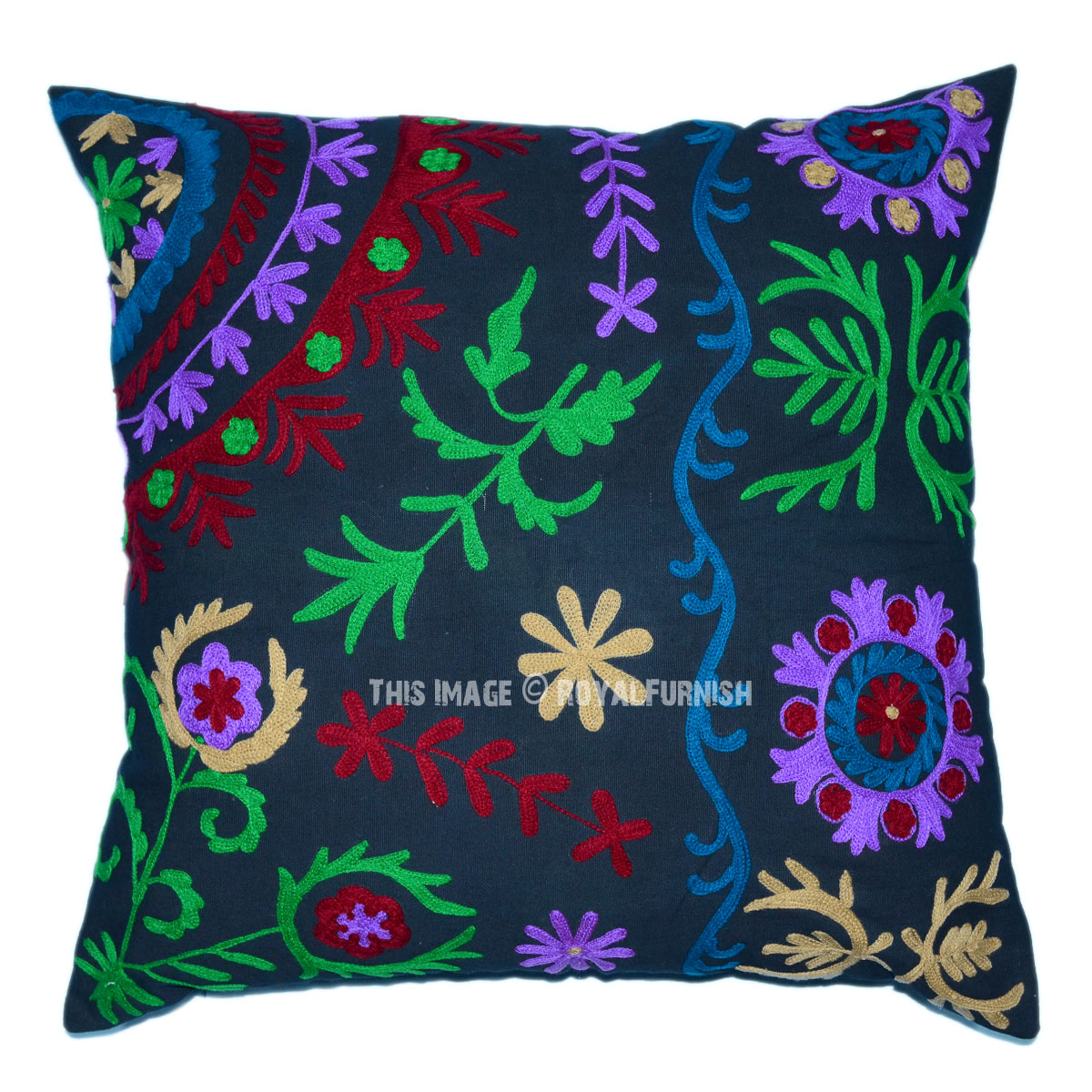 Embroidered Throw Pillow Covers : Black 24x24 Suzani Embroidered Throw Pillow Cover - RoyalFurnish.com