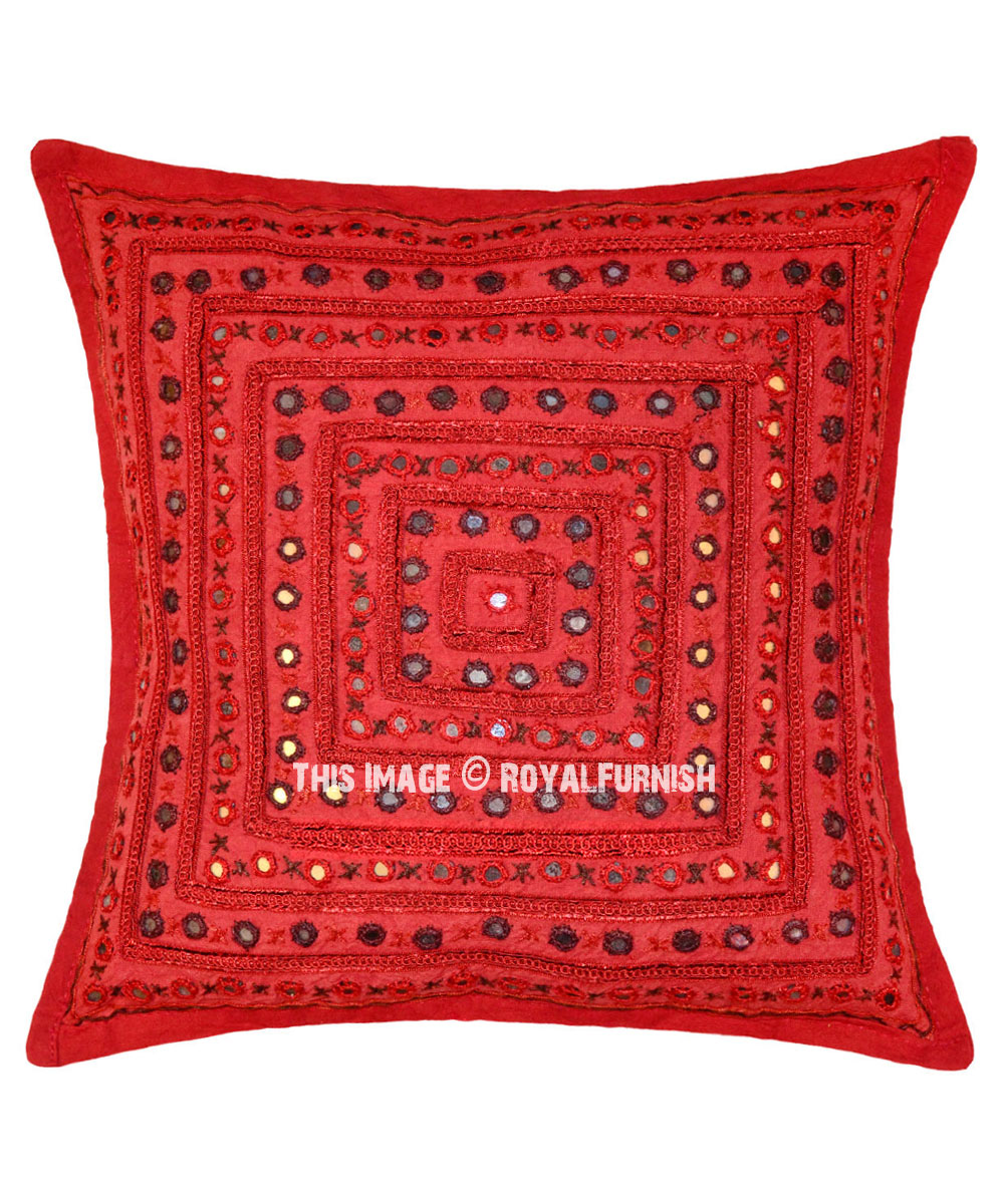 24 Maroon Decorative Mirrored Embroidered Indian Throw Pillow Cover