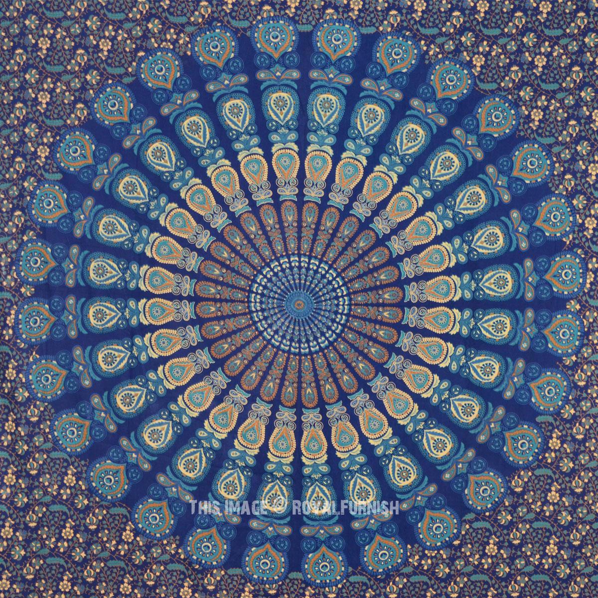 Blue Bohemian Mandala Hippie Indian Tapestry Beach Blanket