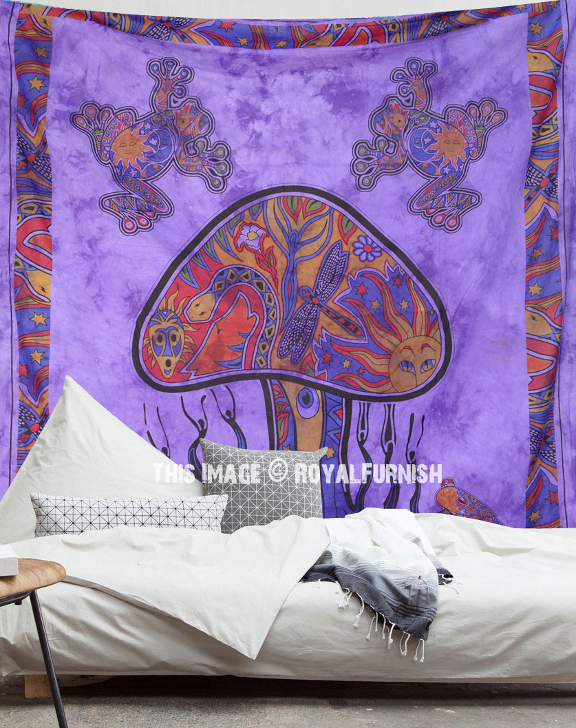 Purple Psychedelic Mushroom Frog Print Boho Style Tapestry