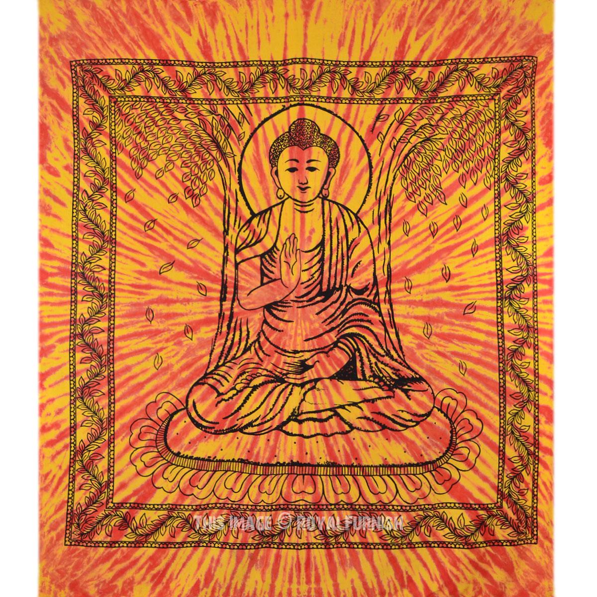 Orange Buddha Canvas Hippie Bohemian Cotton Tie Dye