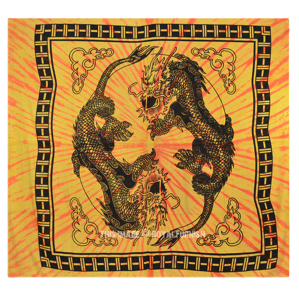 Yellow Yin Yang Chinese Dragon Fly Hippie Tapestry Wall
