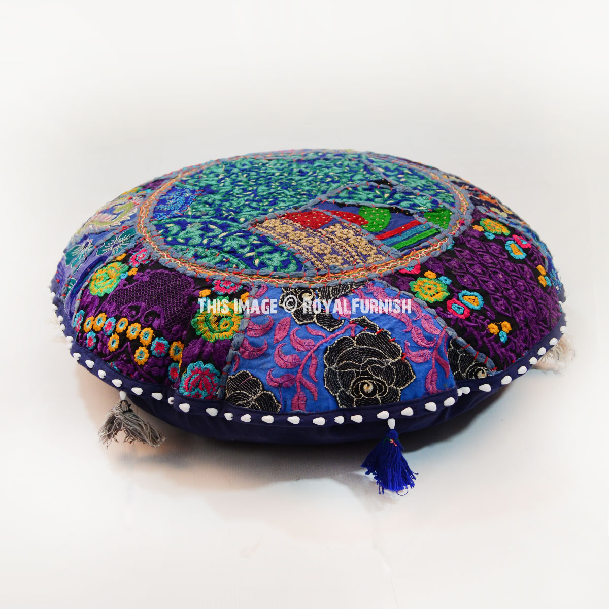 Round Floor Pillow Blue : Blue Colorful One-Of-A-Kind Patchwork Round Yoga Meditation Floor Pillow Cover 22