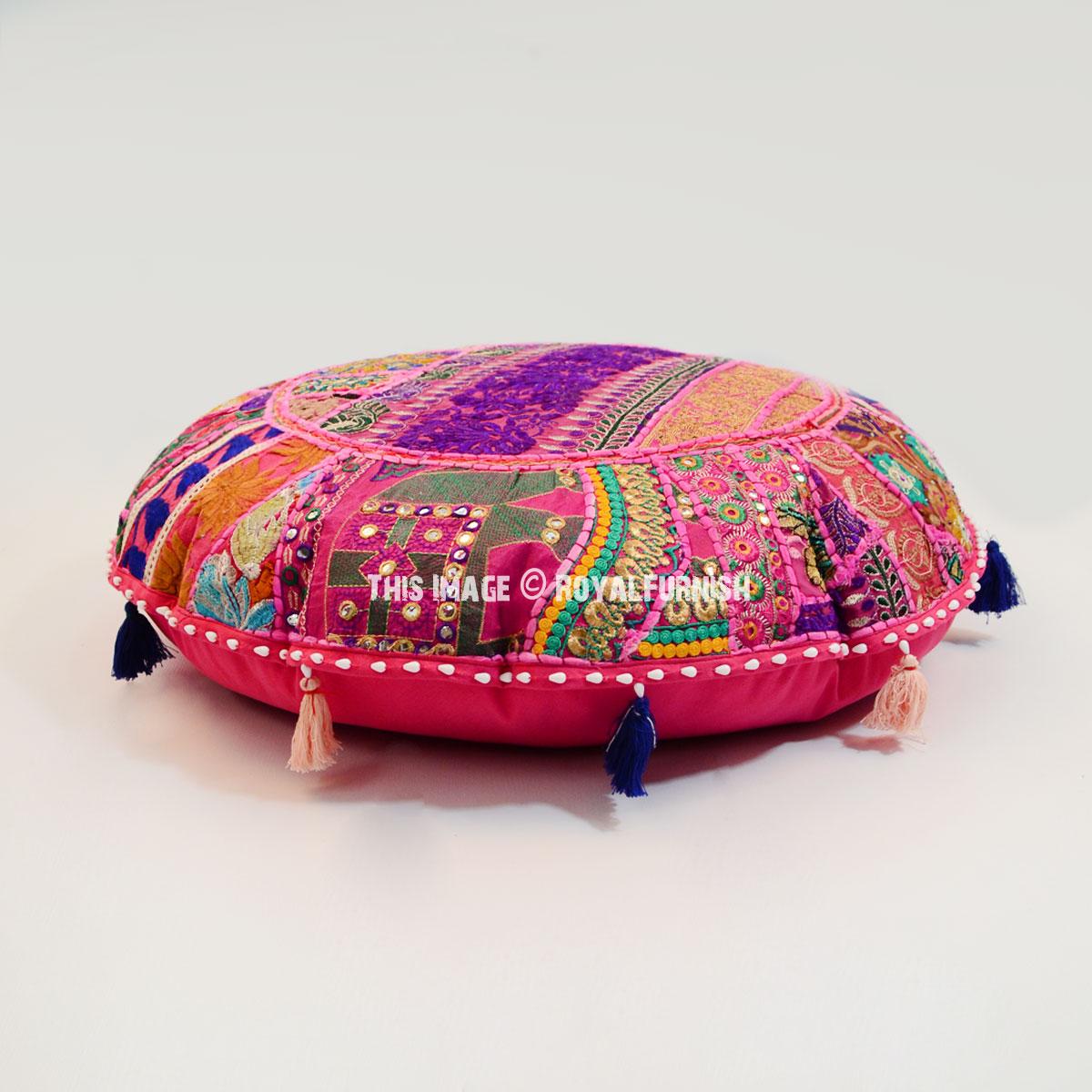 Pleasant Gorgeous Pink 28 Inch Patchwork Round Yoga Floor Cushion Cover Lamtechconsult Wood Chair Design Ideas Lamtechconsultcom