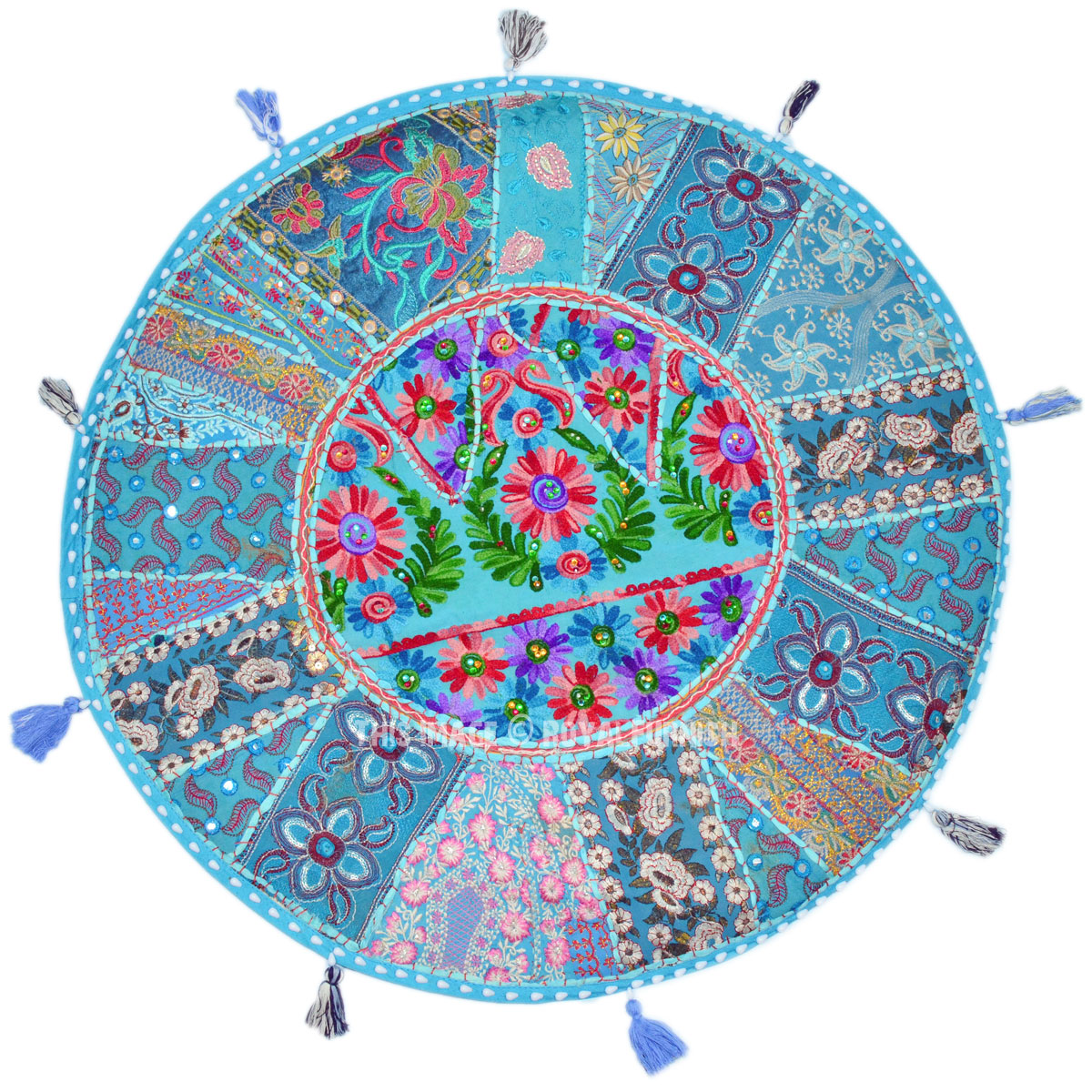 Round Floor Pillow Blue : Turquoise Blue Big 71 Cm. Vintage Multi Patchwork Round Floor Pillow Cover - RoyalFurnish.com