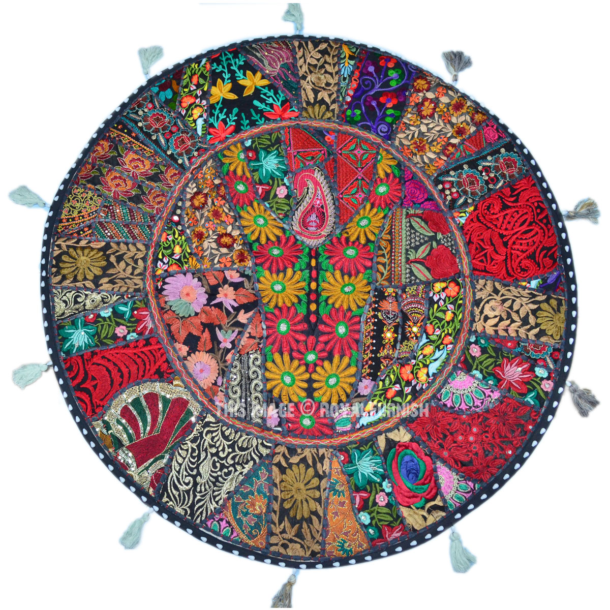 Extra Large Round Floor Pillows : Black Multi Recycled Sari Patchwork Round Floor Pillow Cover - RoyalFurnish.com