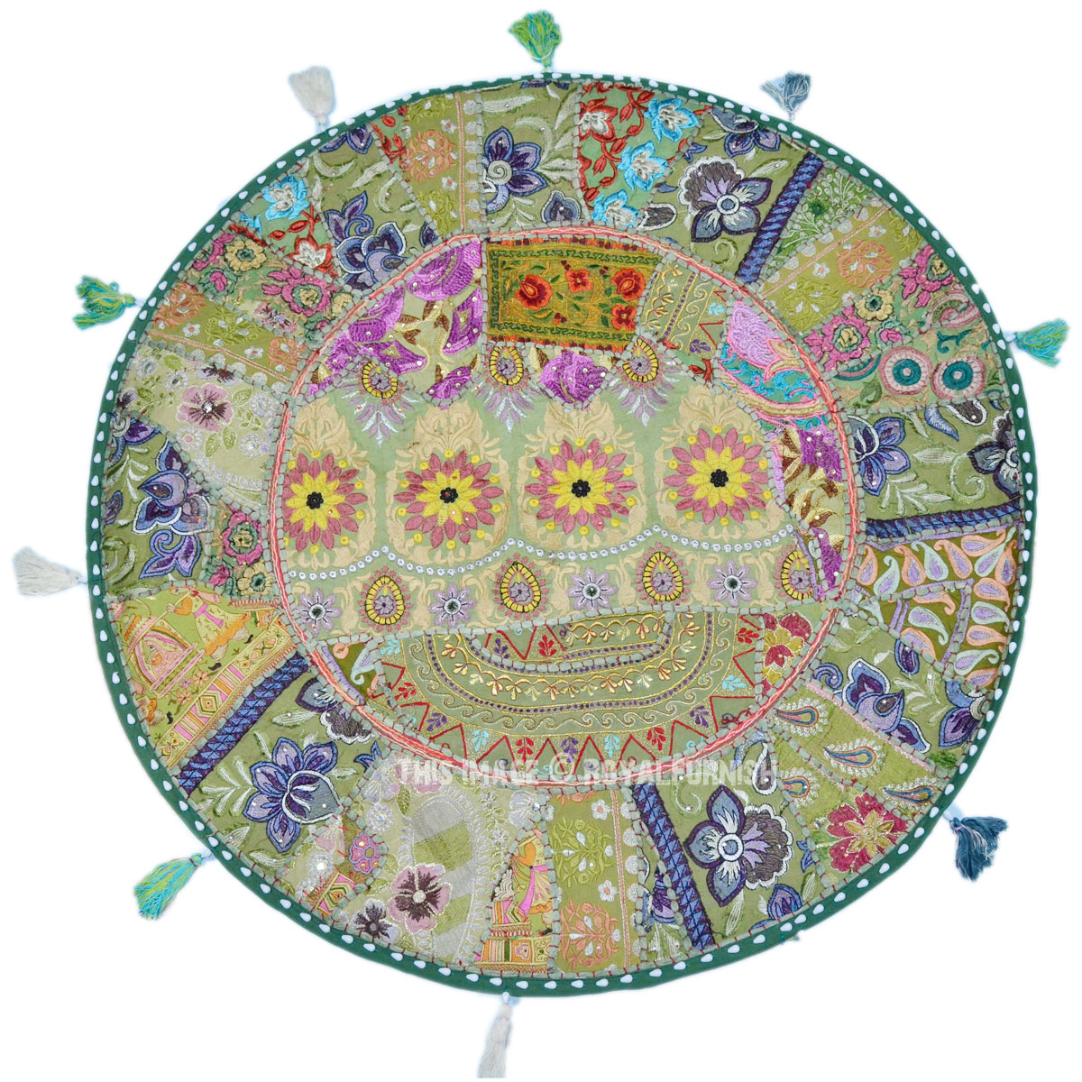 Extra Large Round Floor Pillows : Extra Large Green Recycled Sari Patchwork Round Floor Pillow Cover - RoyalFurnish.com