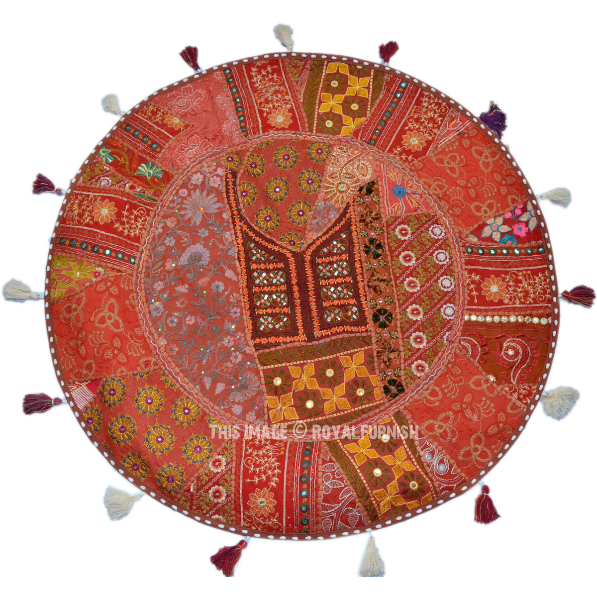 Extra Large Round Floor Pillows : Extra Large Recycled Patchwork Decorative Floor Pillow Case - RoyalFurnish.com