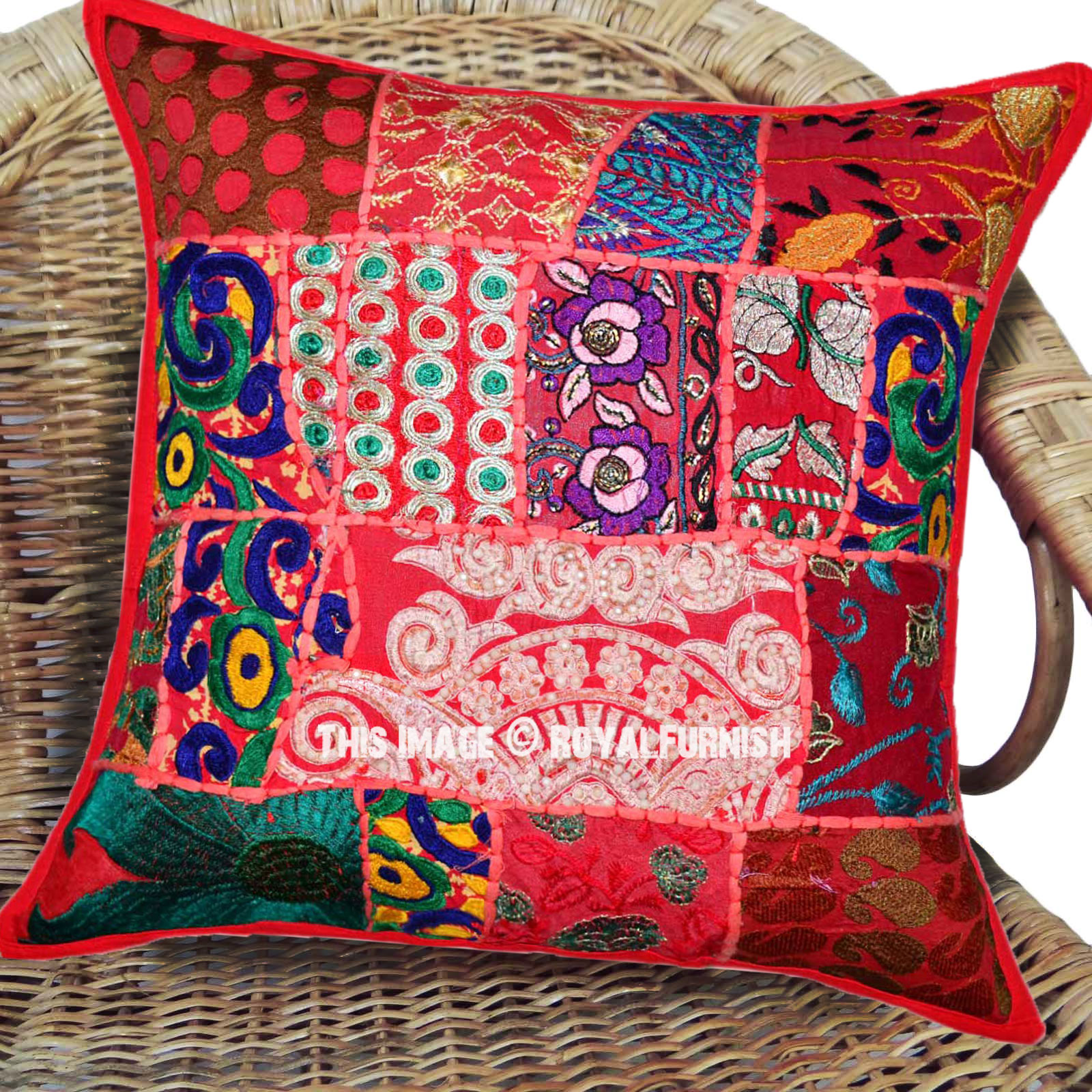 40x40 vibrant red boho patchwork accent square throw pillow cover - What is a throw pillow ...