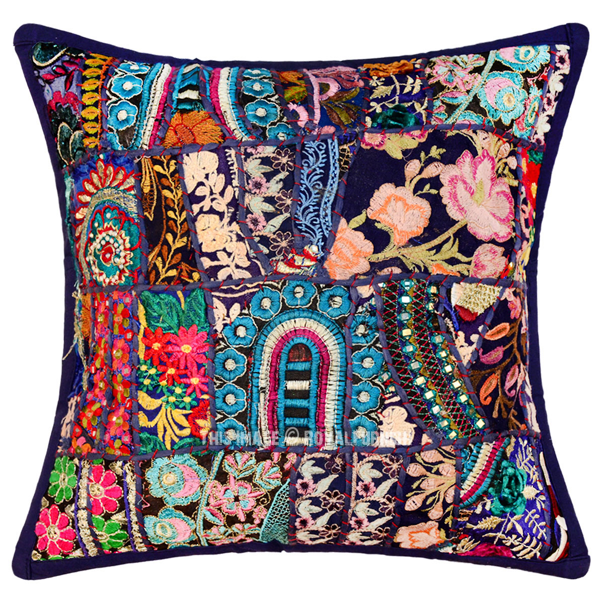 16 inch blue multi decorative handmade patchwork throw pillow sham - What is a throw pillow ...