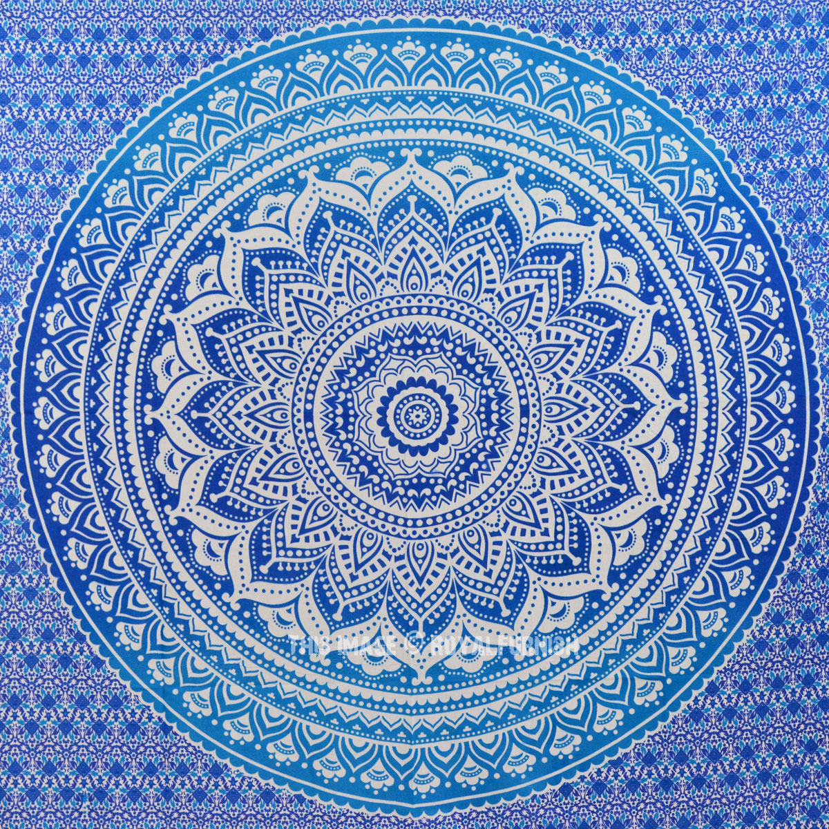 Blue Multi Indian Ombre Mandala Wall Tapestry, Hippie