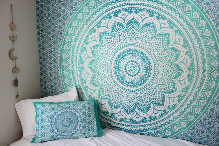 sea green multi ombre tapestry indian mandala bedding throw. Black Bedroom Furniture Sets. Home Design Ideas