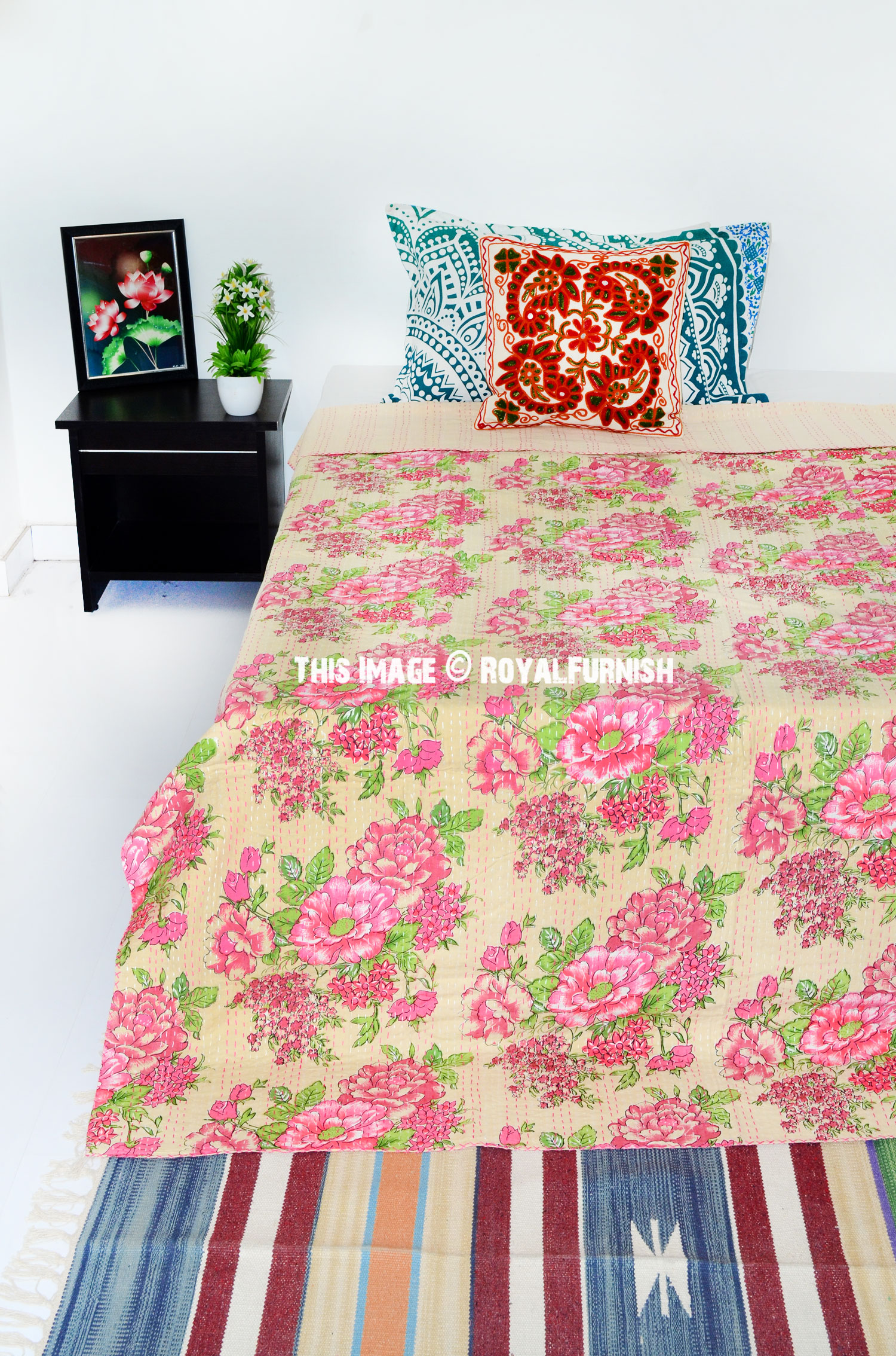 Beige Color Floral Handcrafted Kantha Cotton Quilt Throw